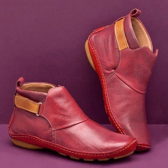 Red Ankle Boot - Women